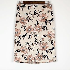 Ann Taylor Beige Skirt Coral Flowers Career Chic
